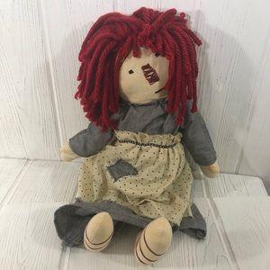 """Primitive Folk Art Raggedy Ann Cloth Doll 20"""""""